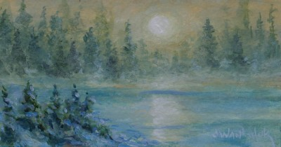 Moon over a pond 6 x 3 - SOLD